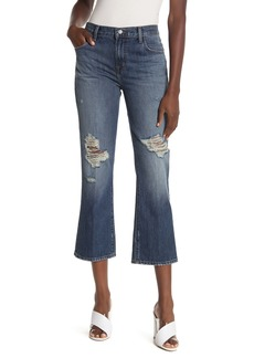 J Brand Aubrie Ripped High Waisted Crop Bootcut Jeans