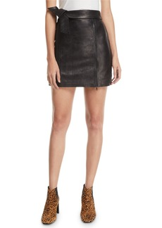 J Brand Christina Leather Zip Mini Skirt