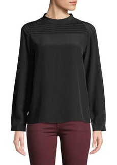 J Brand Chrystal Pleated Long-Sleeve Silk Top