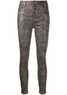 J Brand coated snakeskin skinny jeans