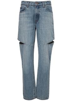 J Brand Cut Out Cotton Denim Boy Fit Jeans