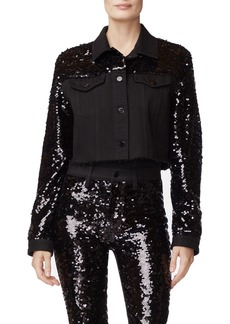 J Brand Cyra Cropped Sequined Jacket