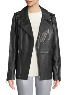 J Brand Eden Zip-Front Long Leather Moto Jacket