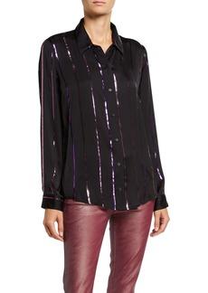 J Brand Elena Metallic Stripe Button-Back Shirt