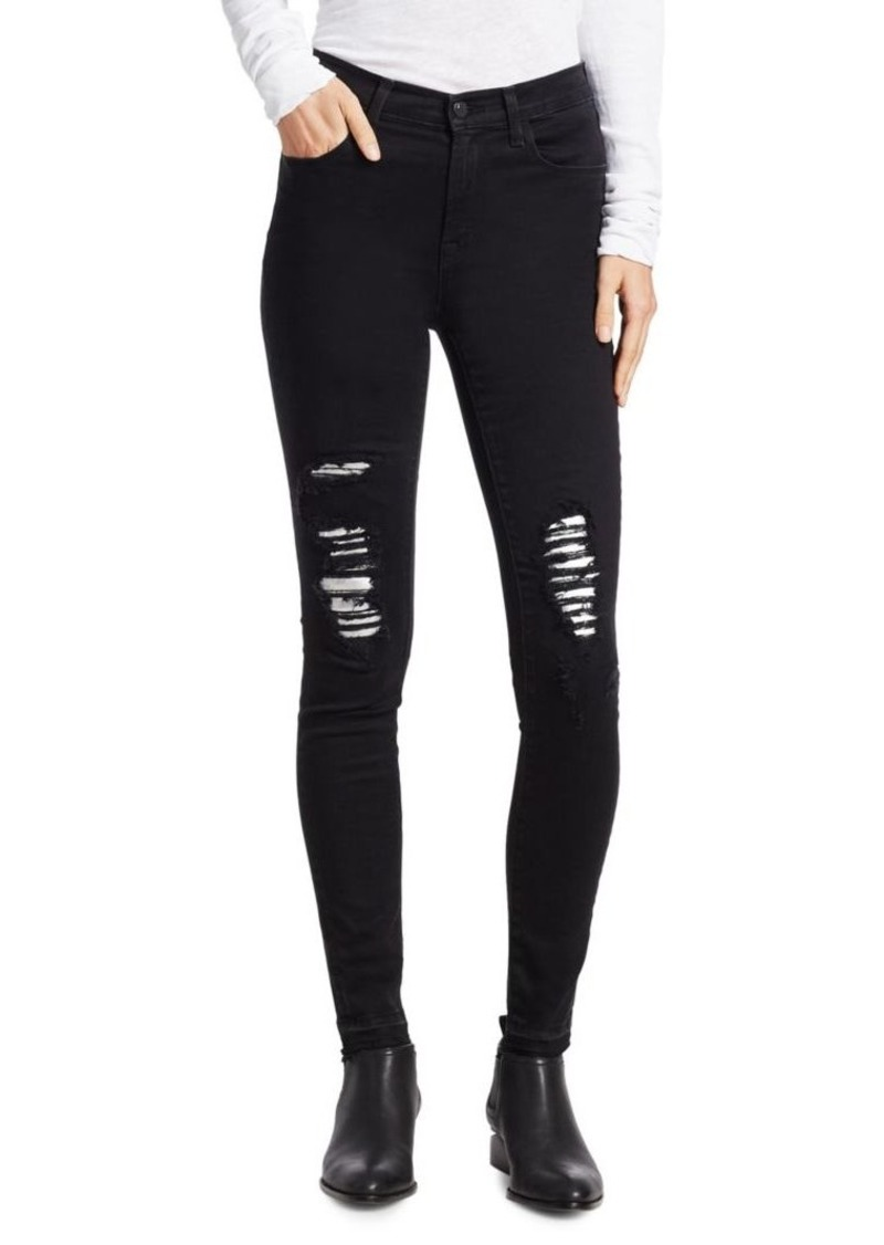 J Brand Exclusive Maria High-Rise Metallic Patch Jeans