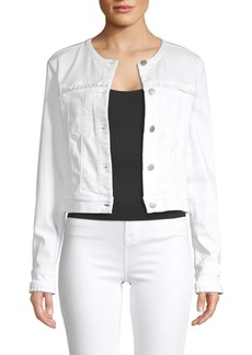 J Brand Harlow Collarless Ruffle Trim Jacket