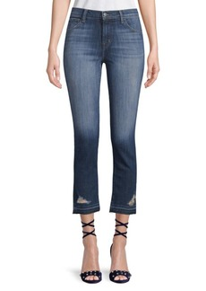 High-Rise Distressed Cropped Jeans