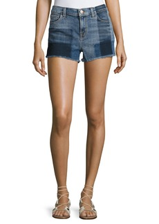 J Brand 1044 Mid-Rise Patchwork Denim Cutoff Shorts