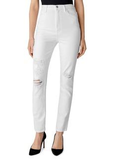 J Brand 1212 Runway High-Rise Slim Straight Jeans in White Destruct
