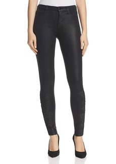 J Brand 620 Coated Mid Rise Super Skinny Jeans in Black