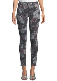 J Brand 620 Floral-Print Mid-Rise Super Skinny Jeans