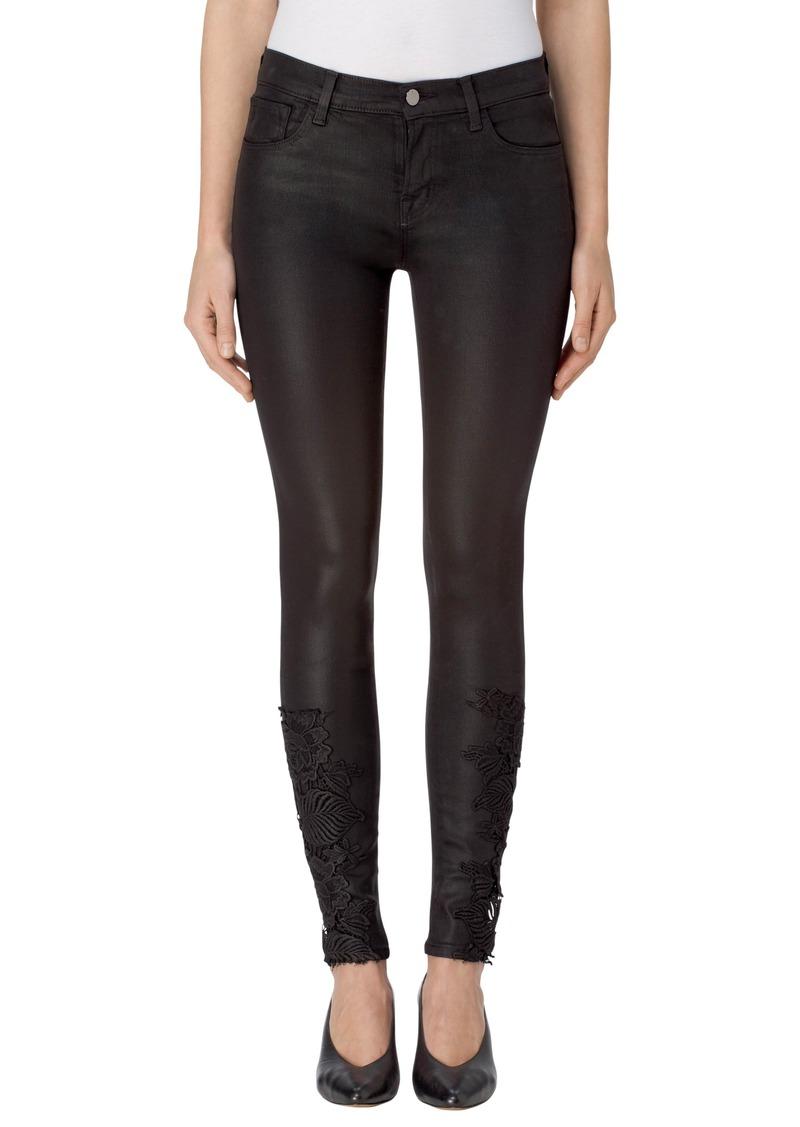 j brand j brand 620 mid rise super skinny jeans coated black lace denim shop it to me. Black Bedroom Furniture Sets. Home Design Ideas