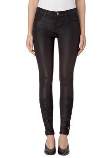 J Brand 620 Mid Rise Super Skinny Jeans (Coated Black Lace)