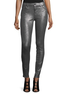J Brand 620 Mid-Rise Super Skinny Metallic Jeans