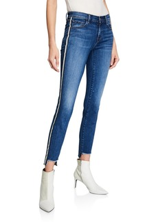 J Brand 811 Mid-Rise Skinny Step-Hem Jeans w/ Side Stripes