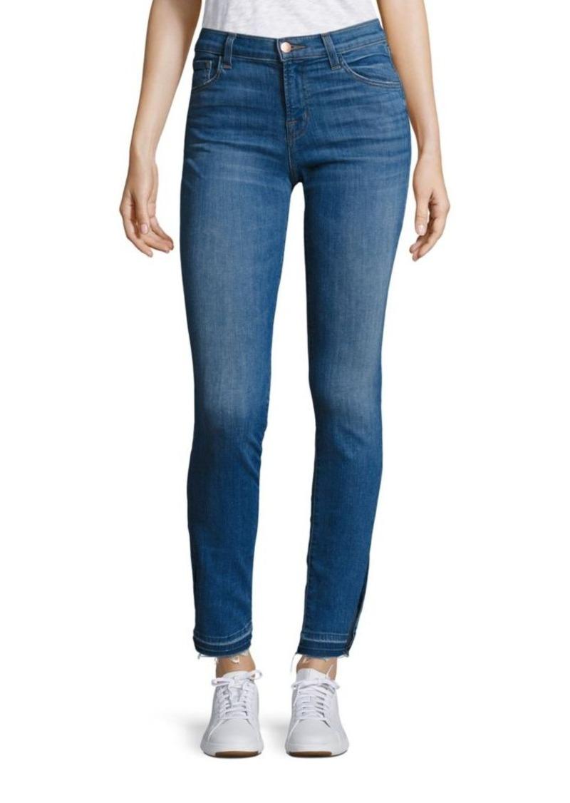 J BRAND 811 Slit Raw Hem Skinny Jeans/Angelic