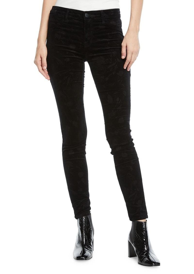 J Brand 815 Mid-Rise Velvet Skinny Ankle Jeans