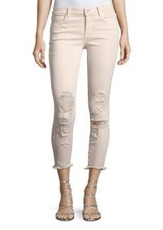 J Brand 825 Mid-Rise Distressed Capri Skinny Jeans