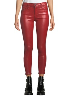 J Brand 835 Mid-Rise Coated Cropped Skinny Jeans