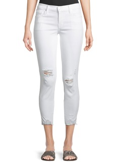 J Brand 835 Mid-Rise Distressed Cropped Jeans