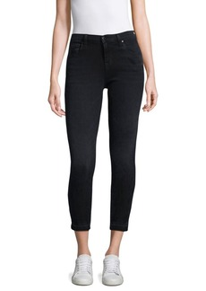 835 Mid-Rise Released-Hem Distressed Cropped Jeans