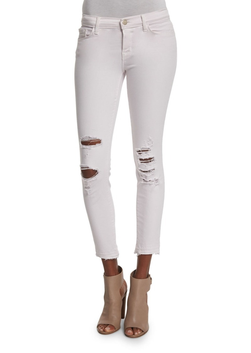 J Brand 932 Low-Rise Distressed Cropped Jeans