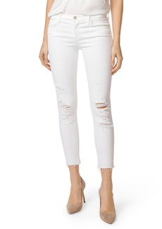 J Brand 9326 Low Rise Crop Skinny Jeans (Destructed White Sateen Demented)