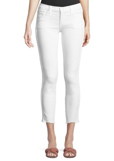 J Brand 9326 Low-Rise Cropped Skinny-Leg Jeans with Braided Sides