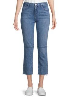 Acid Wash Cotton Cropped Jeans