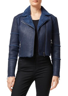 J Brand Aiah Lambskin Leather Moto Jacket with Genuine Shearling Trim