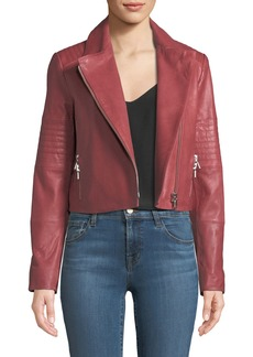 Aiah Zip-Front Lamb Leather Jacket