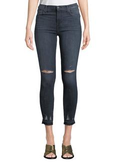 J Brand Alana Cropped High-Rise Distressed Skinny Jeans