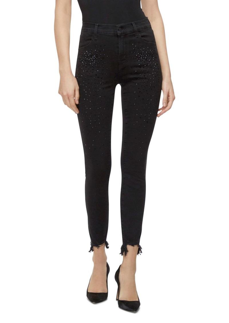 J Brand Alana High-Rise Crop Jeans in Black Adorned