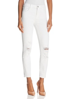 J Brand Alana High Rise Crop Jeans in Destructed Blanc - 100% Exclusive