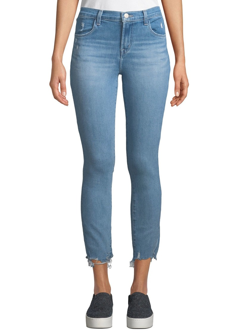 J Brand Alana High-Rise Crop Skinny Jeans with Destroyed Hem