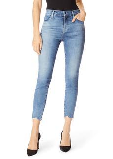 J Brand Alana High-Rise Cropped Skinny Jeans w/ Frayed Hem