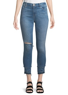 J Brand Alana High-Rise Cropped Skinny Jeans with Ripped Knee