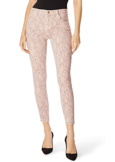 J Brand Alana High-Rise Cropped Snake-Print Jeans