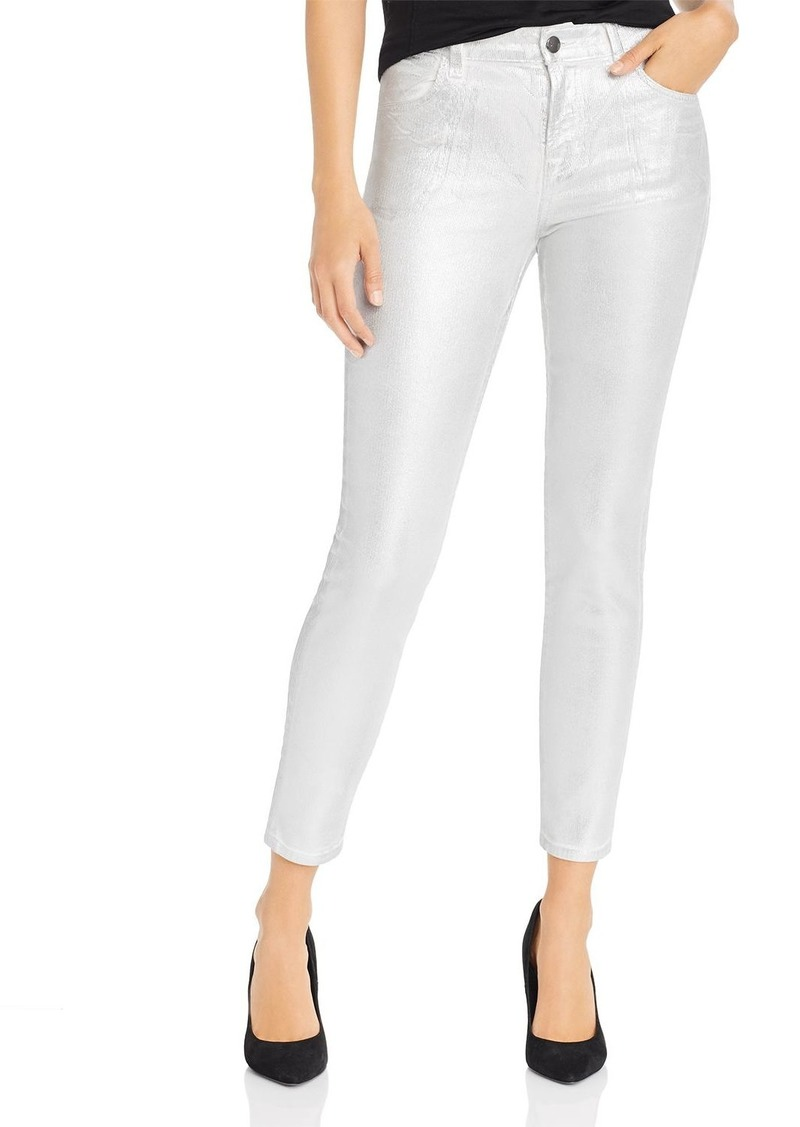 J Brand Alana Metallic Corduroy Cropped Skinny Jeans in Silver Messaline