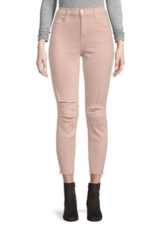 J Brand Alana Photoready Distressed Frayed Hem Cropped Skinny Jeans