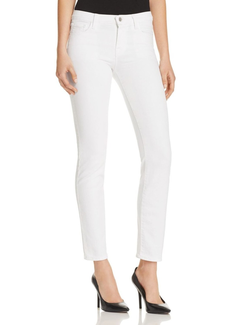 J Brand Amelia Mid Rise Straight Jeans in Blanc