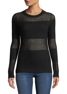 J Brand Andrea Ribbed Silk-Cashmere Crewneck Sweater