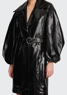J Brand Antonia Balloon-Sleeve Leather Coat