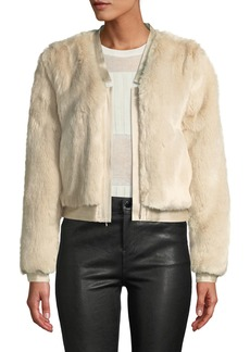J Brand Ashbey Faux-Fur Zip-Front Bomber Jacket