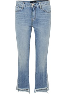 J Brand Aubrie frayed high-rise flared jeans
