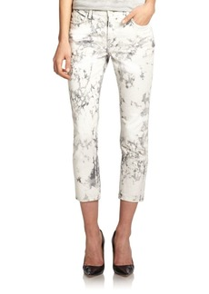 J Brand Aubry Low-Rise Cropped Marble-Print Skinny Jeans