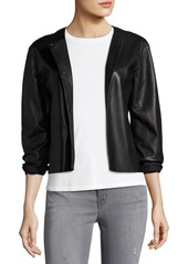 J Brand Cecilia Snap-Front Leather Jacket