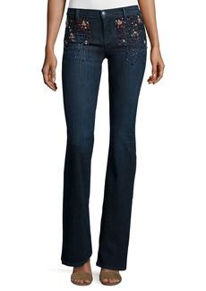 J Brand Charlotte Embellished Boot-Cut Jeans