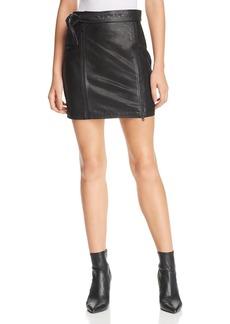 J Brand Christa Leather Zip Mini Skirt