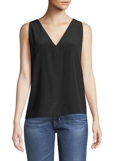 J Brand Christina Pleated-Back V-Neck Silk Top